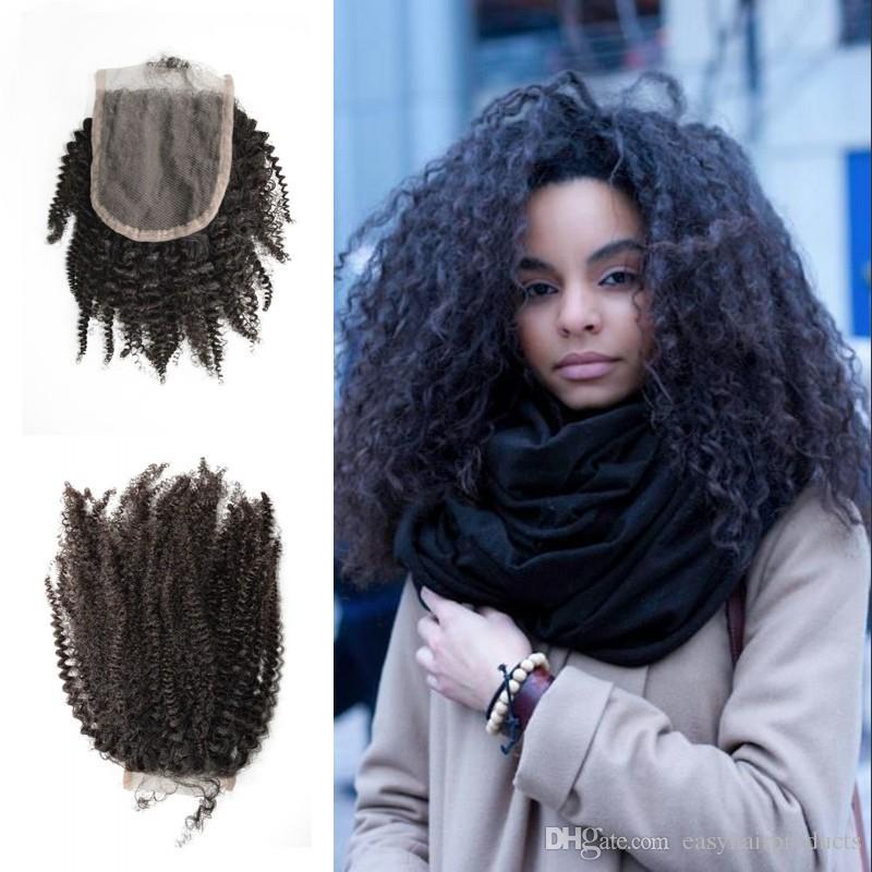 Capelli umani indiani 4x4 chiusura del merletto Parte libera Afro Kinky Ricci di colore naturale 100% non trasformati Capelli umani In magazzino G-EASY