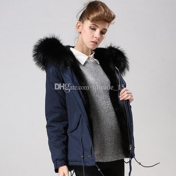 INS caliente Meifeng marca mujeres abrigos de nieve negro piel de mapache ajuste parka negro forro de piel de conejo azul marino mini parkas