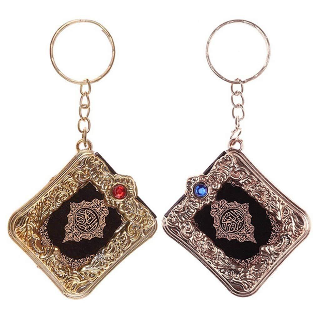2 Colors Mini Ark Quran Book Keychains Creative Keyrings Arabic Muslim Keychain Car Key Pendant Women Accessories Christmas Gift M177F