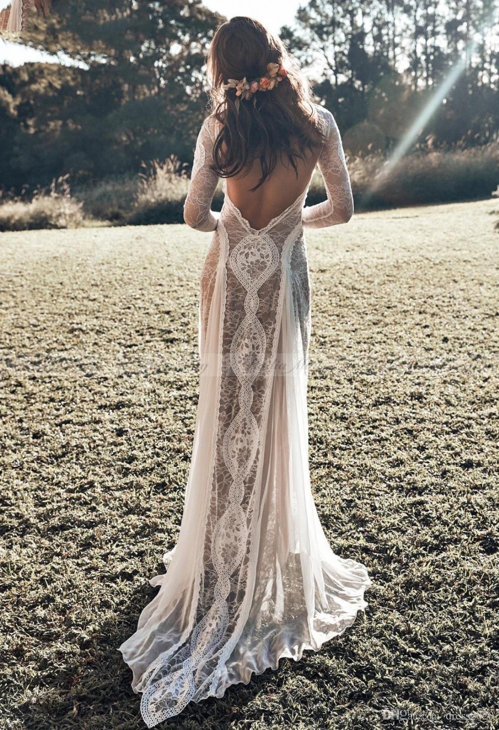 Vintage Lace Backless Boho Beach Vestidos de Noiva de Manga Longa Nude Forro País Boêmio Vestidos de Noiva Hippie Gypsy Noiva Vestido