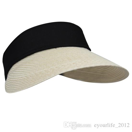 Womens Ladies Summer UV Protective Braid Sewn Straw Large Big Wide Brim Empty Top Travel Portable Roll up Sun Hats Caps Hat Cap