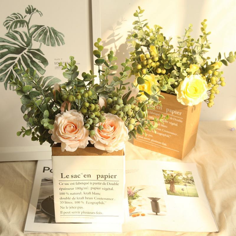 اعتصامات الرياح محاكاة الأوكالبتوس روز باقة الاصطناعي زهرة الزفاف الديكور النباتات عرض اكليلا العروس باقة وهمية زهرة الجدار
