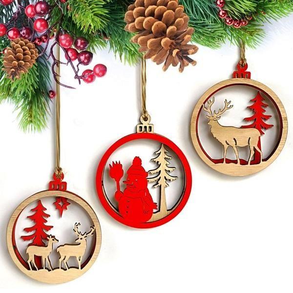 2 layer Wooden Christmas tree Ornament Snowman Deer Bulb Small Pendants Xmas Decorations Wooden Pendant Wood Wall Hanging 3 models a set