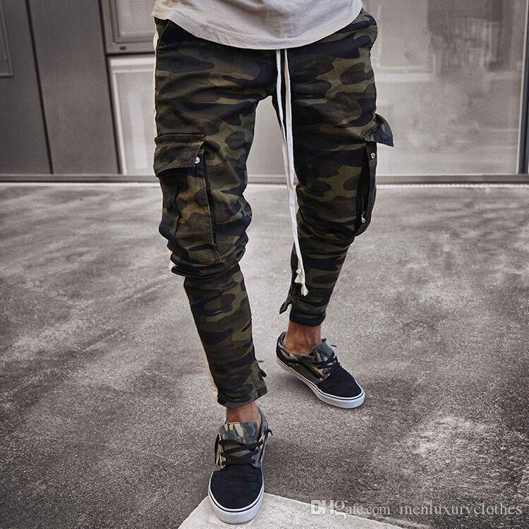 Fashion-Mens Camouflage Pencil Designer Jeans Fashion Big Pockets Striped Zipper Design Slim Jean Pants