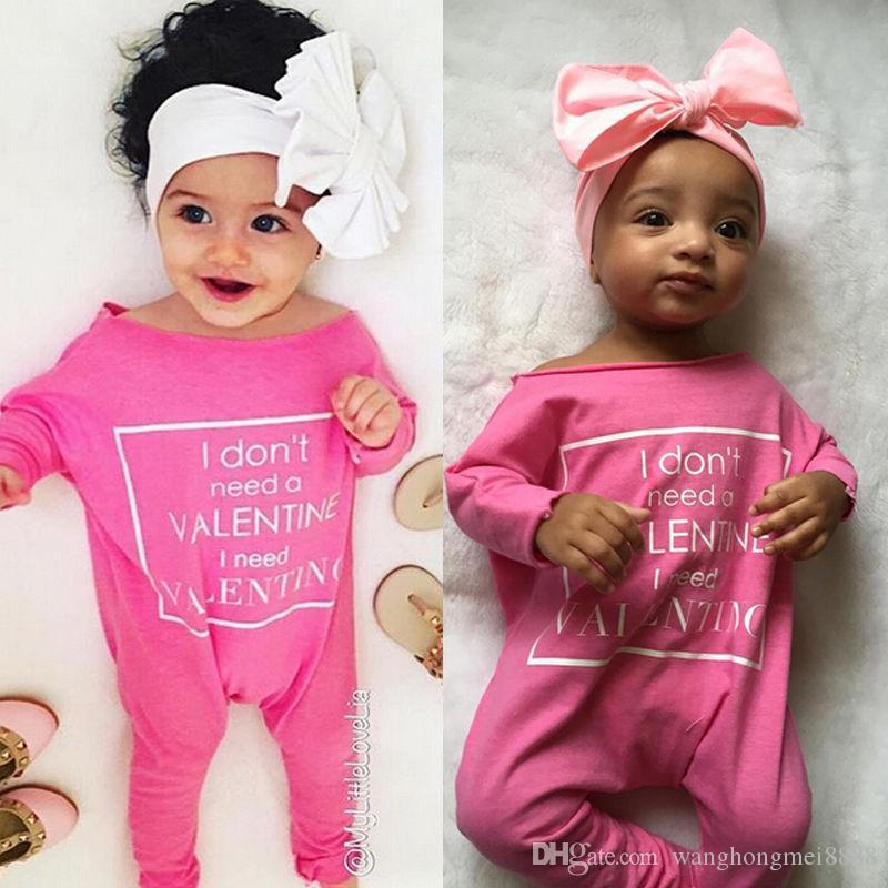 Emmababy Bebé recién nacido niña mameluco rosado Niños bebés Bebés carta de manga larga de primavera Mamelucos Mono Ropa Trajes