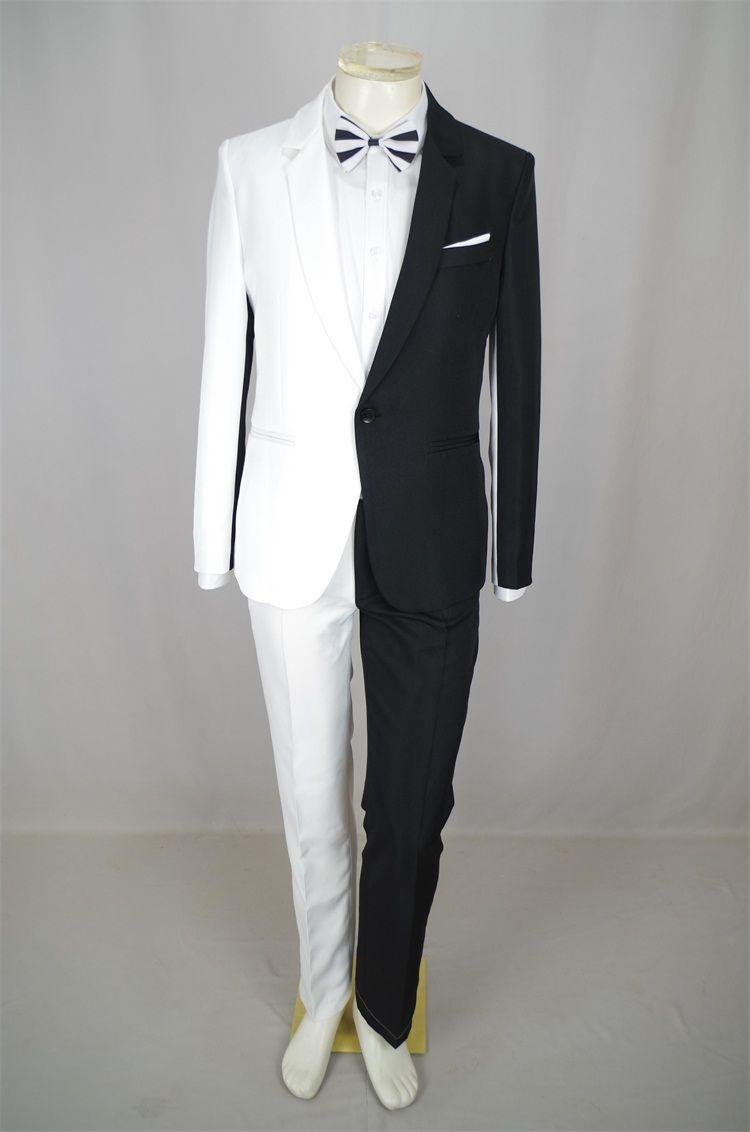 Personalidade Men Preto Branco Costura Suits Magician Palhaço performance de palco Roupas Discoteca Bar Cantor Costume Anfitrião