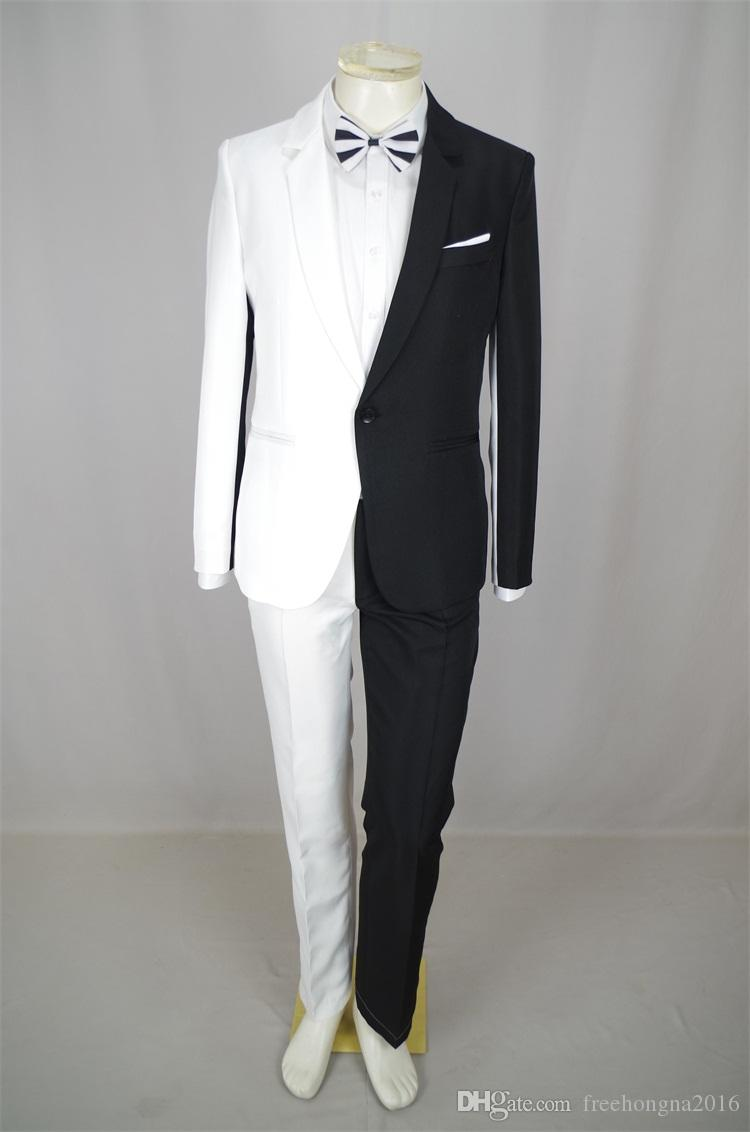 Personality Men Black White Stitching Suits Magician Clown Performance Stage Outfits Nightclub Bar Male Singer Host Costume