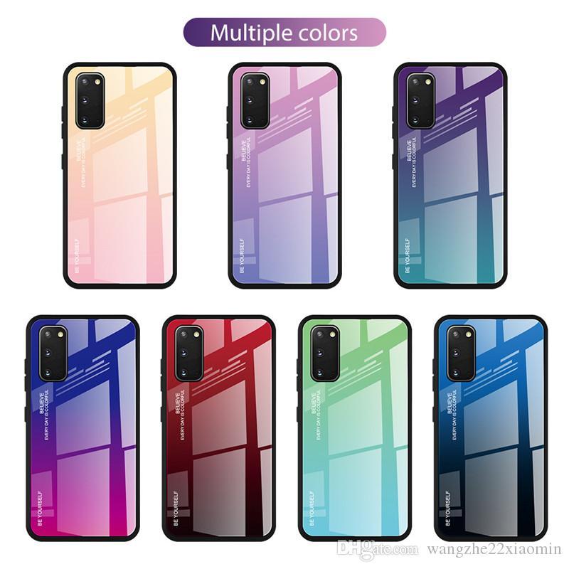 2020 الأزياء التدرج زجاج الهاتف القضية لسامسونج A60 M40 المضادة للسقوط المقسى الهاتف الخليوي غطاء لسامسونج غالاكسي S20Plus S20 الترا