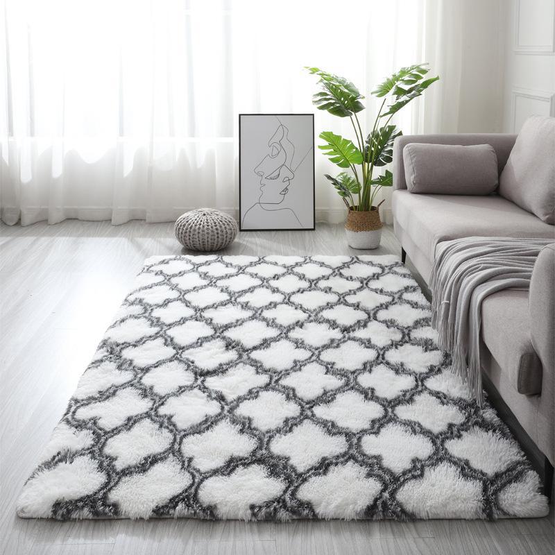 북유럽 스타일의 넥타이 염색 거실 카펫 침대 옆 양탄자 발코니 장식 카펫 고밀도 스폰지 미끄럼 방지 깔개를 두껍게