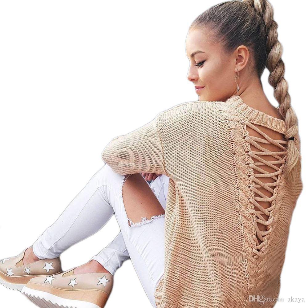 Sexy rückenfrei Stricken Pullover Mode Verband Herbst Winter Pullover Frauen Tops lässig aushöhlen heraus Jumper Pull femme