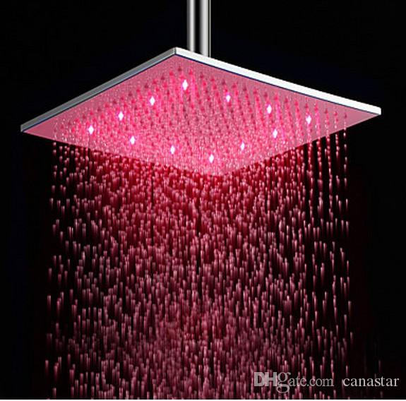 Wholesale-Square Chrome Rainfall Shower Head LED Light Spray 20/25/30 cm Wall Mounted Top Ceiling Mounted Adjustable Showerheads