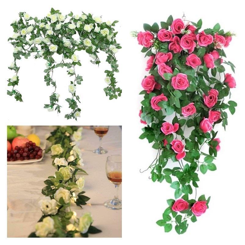 Artificial Rose Flower Vines Wedding Decoração Silk Rose Wisteria Flower Rattan Início Jardim DIY Garland partido tabela peça central decorativa