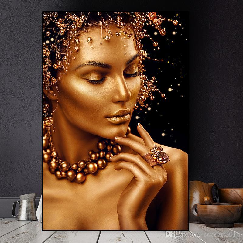 Nu Sexy Art Africain Noir et Or Femme Peinture à l'huile sur toile Affiches et copies Cuadros Wall Art Image No Frame