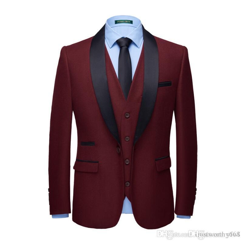 Wine tuxedos groom wedding men suits mens wedding suits tuxedo costumes de smoking pour hommes men(Jacket+Pants+Tie+Vest) 045