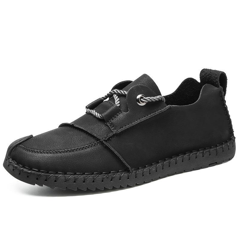 Zapatos para hombre del cuero auténtico de los hombres de otoño zapatos casuales de la moda de calidad superior de conducción Mocasines con cordones de los zapatos de los holgazanes para hombre planas
