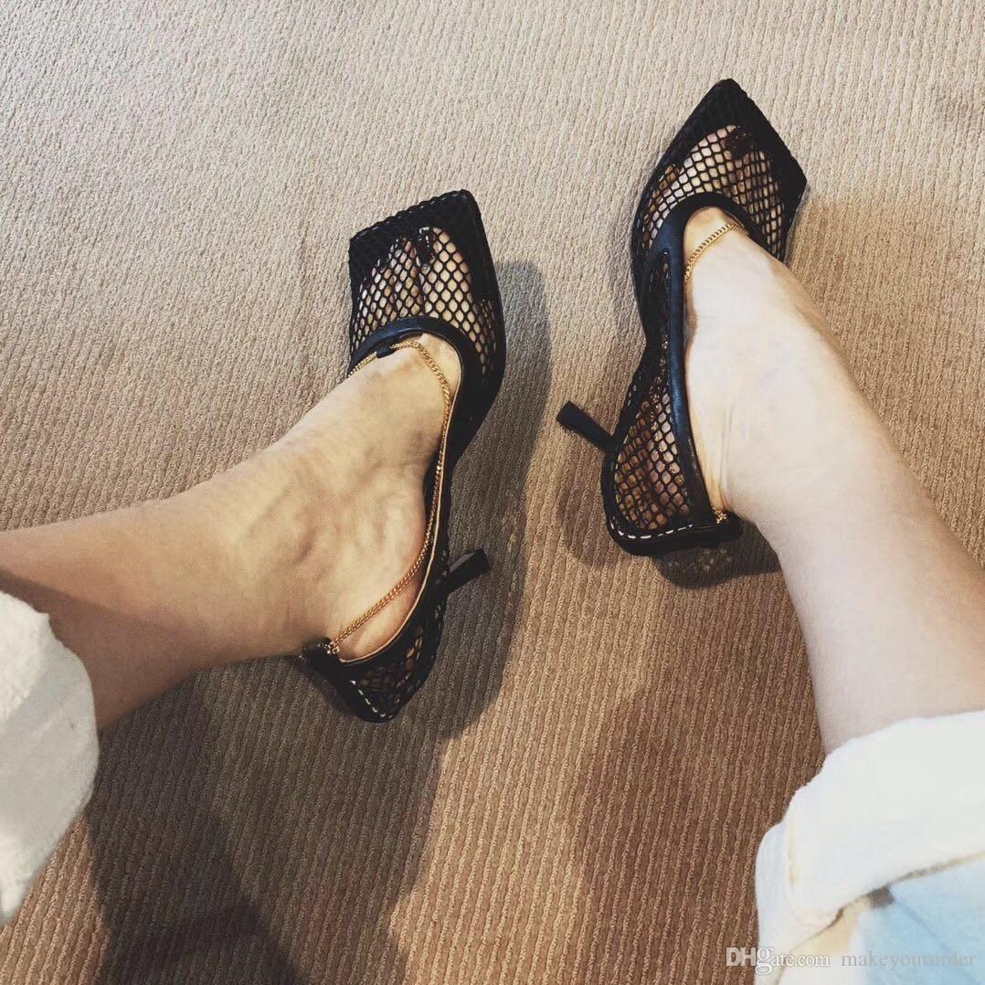 클래식 브랜드 하이힐 플랫폼 신발은 누드 블랙 가죽 발가락 여성 드레스 웨딩 샌들 신발 크기 34-41 펌프
