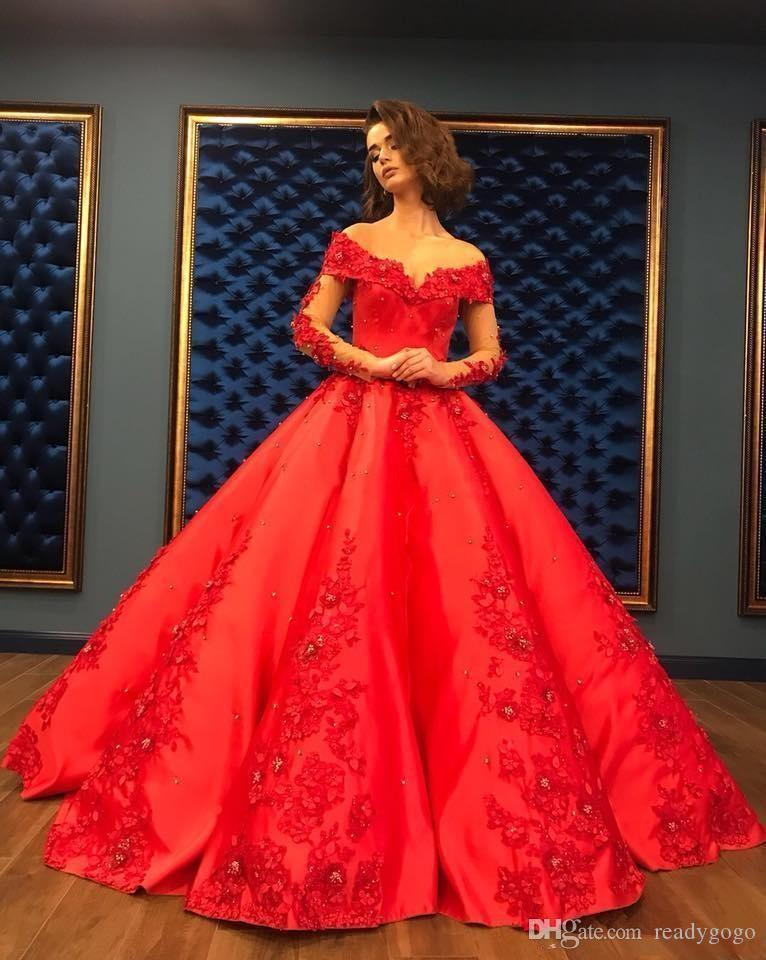 Princess Red Lace Applique Long Sleeve Quinceanera Dresses Off Shoulder Puffy Skirt Arabic Dubai Evening Gowns Formal Dress Sweet 15 Dress