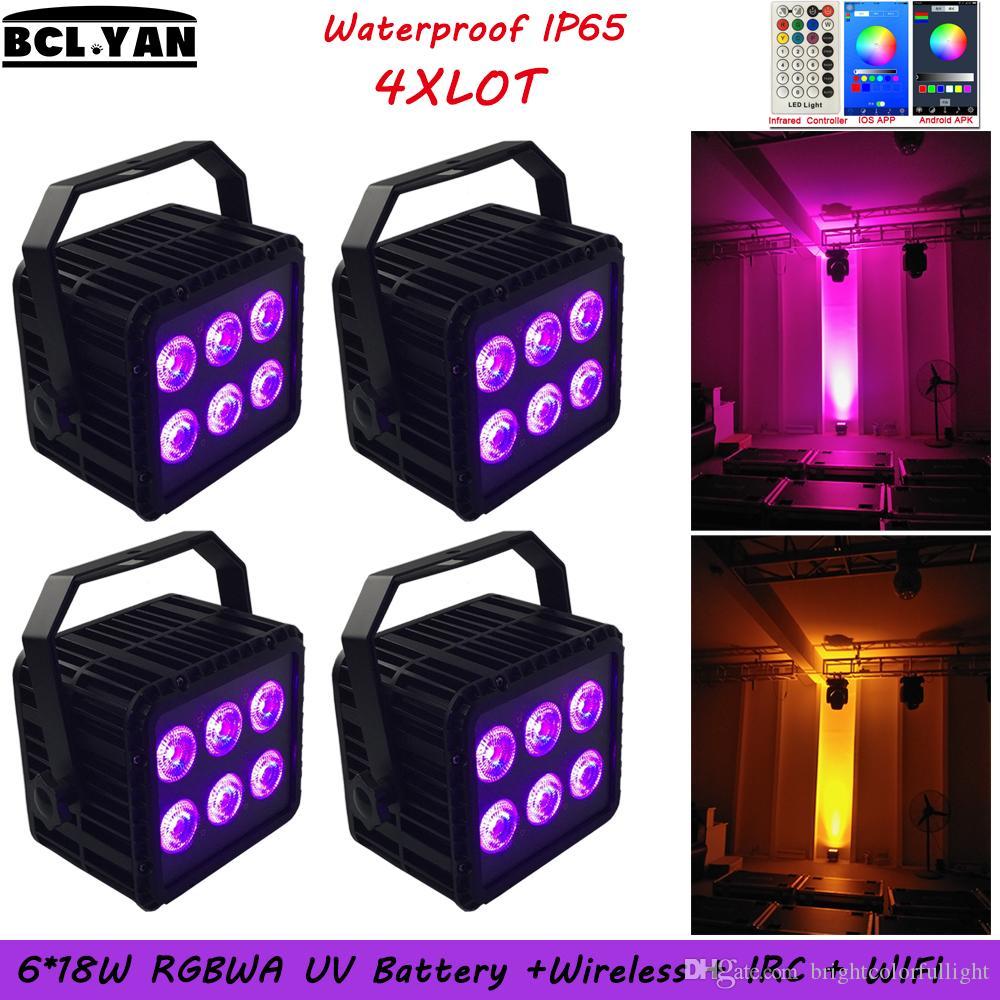 4XLOT Best Sale Waterproof battery led Wireless DMX PAR CAN IP65 WIFI Phone app control 6*18w RGBWA UV DJ Event lighting remote