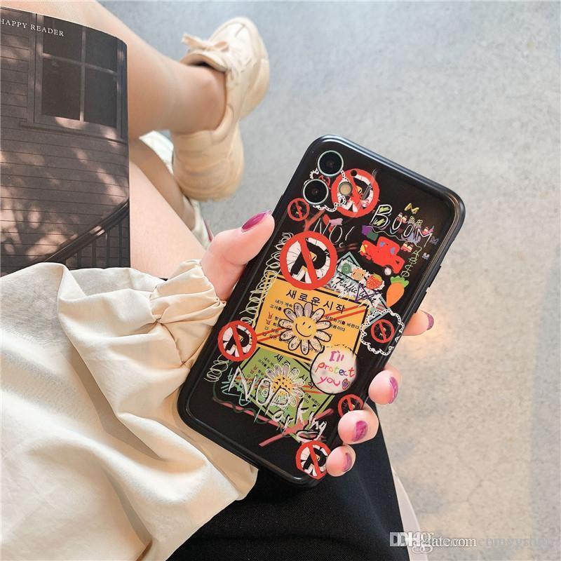 Boa Moda Luxo Designer Graffiti Sun Flor macia do telefone para o iPhone 11 Pro Max 7 8 mais X XR XS Max tampa traseira bonito silicone suave
