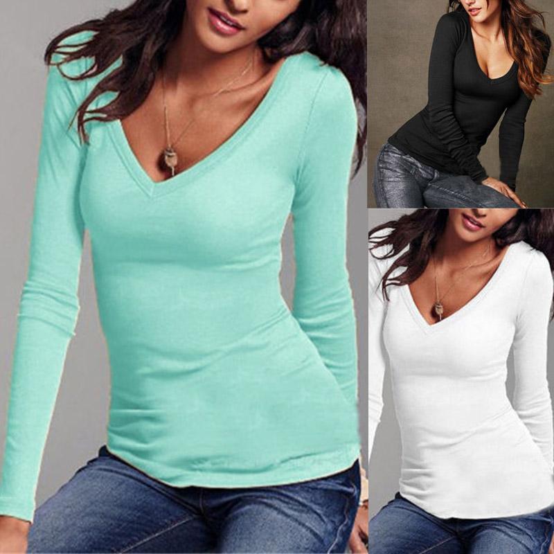 المرأة مثير كم طويل تي شيرت الخامس الرقبة صالح سليم دافئ الخريف الربيع الأساسية T-Shirts أعلى QL بيع