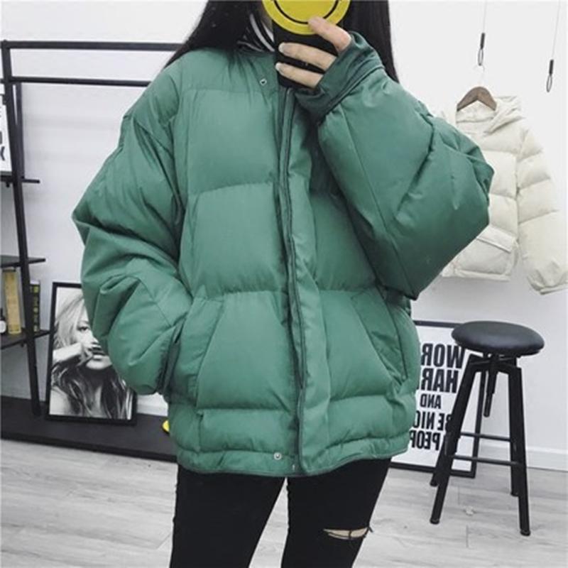 O-Neck femmes d'hiver poches zippées Goutte d'épaule coton-vêtement féminin en vrac Casual confortable Concise Style de vêtement ZX1178