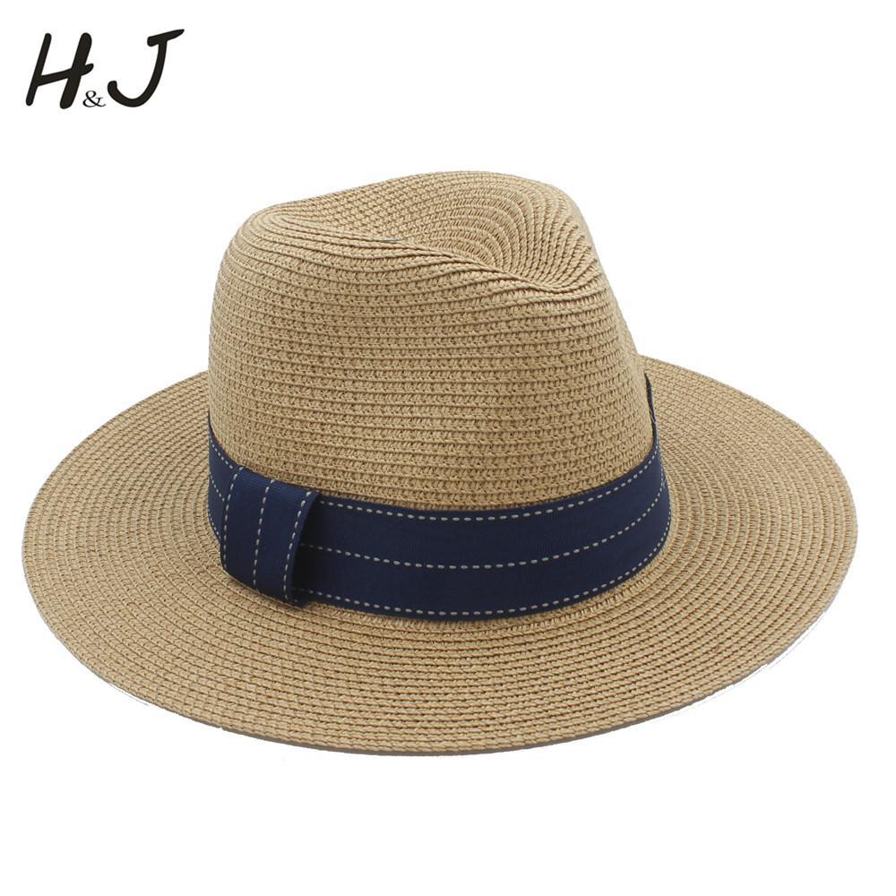 Fashion Women Summer Toquilla Straw Panama Sun Hat For Elegant Lady Wide Brim Floppy Seaside Sunbonnet Beach Cap Striped Ribbon