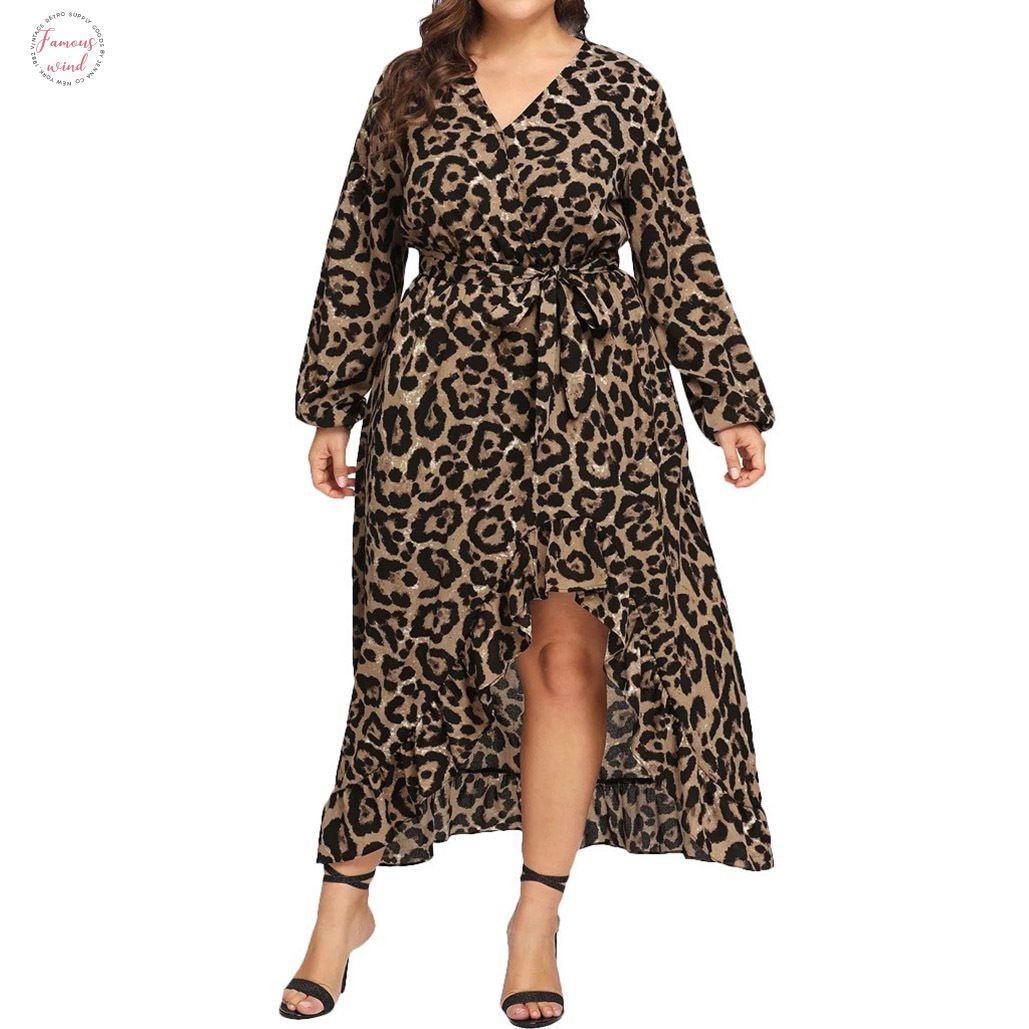 Макси платья Женщины Повседневная плюс размер леопардовый принт V образным вырезом с длинным рукавом оборками бандажное платье 5Xl платье Женская одежда Женское платье