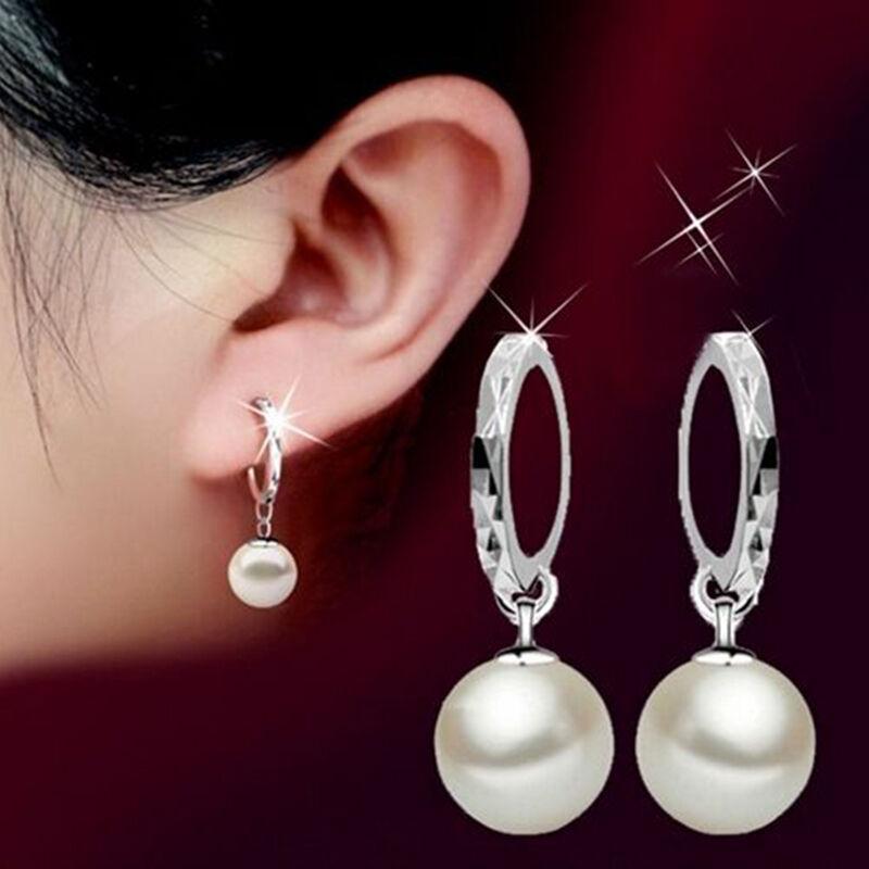 Frauen Art und Weise Silber überzogen 10mm 12mm Perle lange baumeln Ohrringe Hochzeit Schmuck für Frauen Perlen-Tropfen-Form