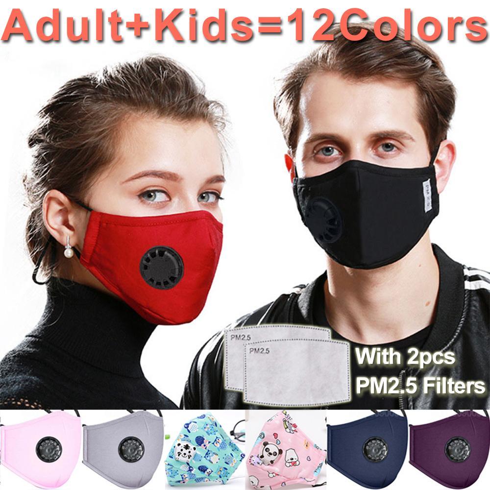 Lavabile Maschera maschere anti-polvere riutilizzabile PM2.5 con 2 figli di filtro valvola di cotone di protezione bambini maschere per il viso bambino stoffa lavabile
