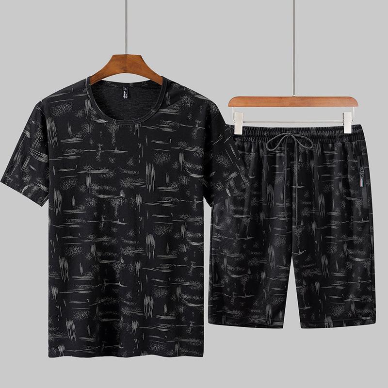 Verano Tamaño del chándal Plus del hombre Pantalones cortos masculino marea de manga corta camiseta de dos piezas de Verano de deporte suelta de manga corta traje de la venta caliente