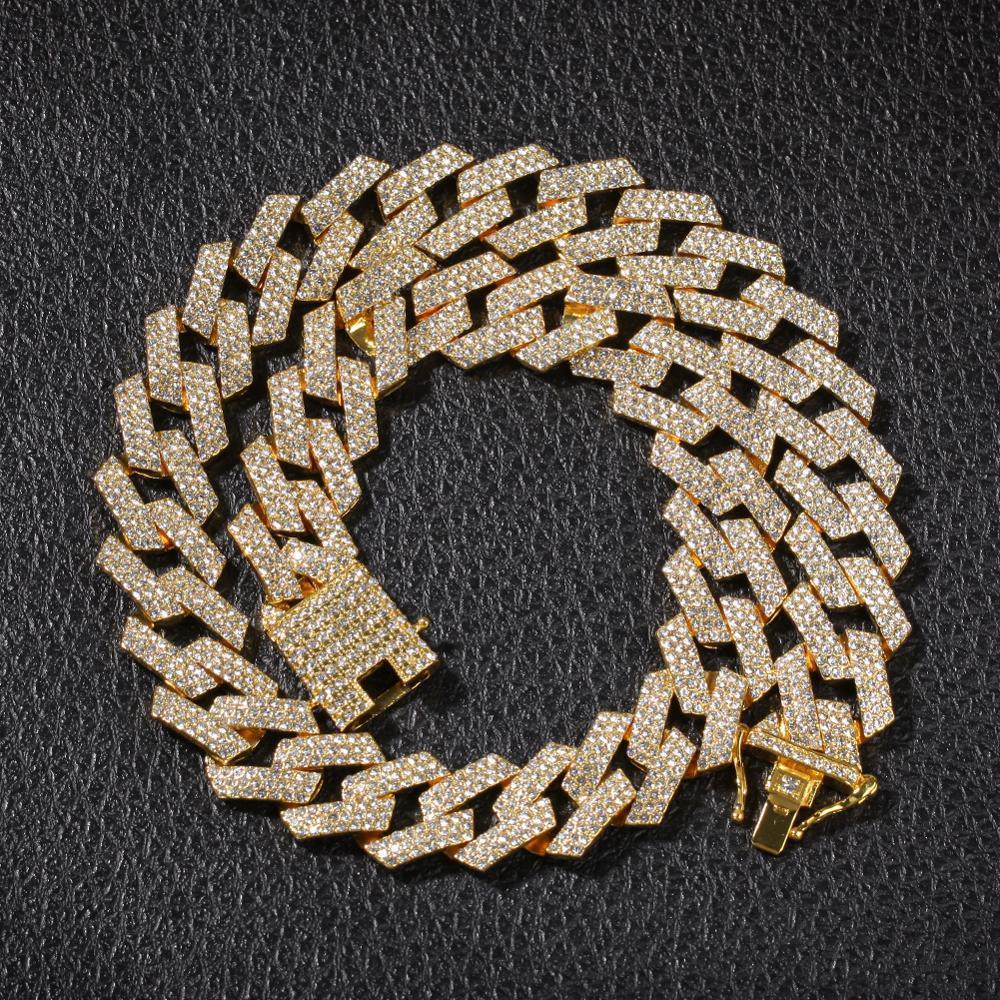 20мм звеньевые цепи ожерелья Hiphop ювелирных изделий 3 Ряд Стразы Iced Out Ожерелье для мужчин