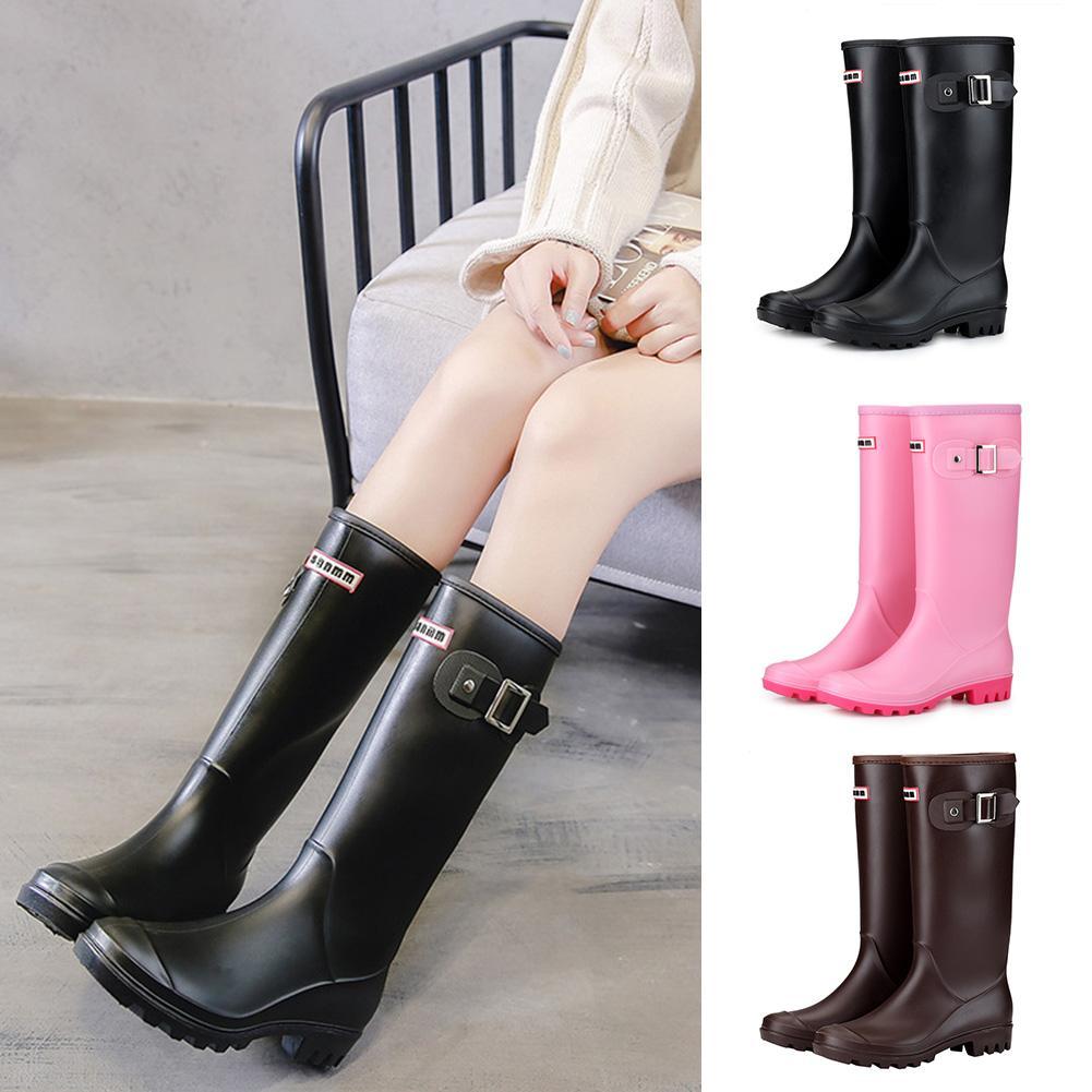 Morno mulheres Forrado botas de chuva Bloco de Inverno salto Buckles antiderrapante Toe Rodada Pull-on Duplas Wellington alta A302 Waterproof