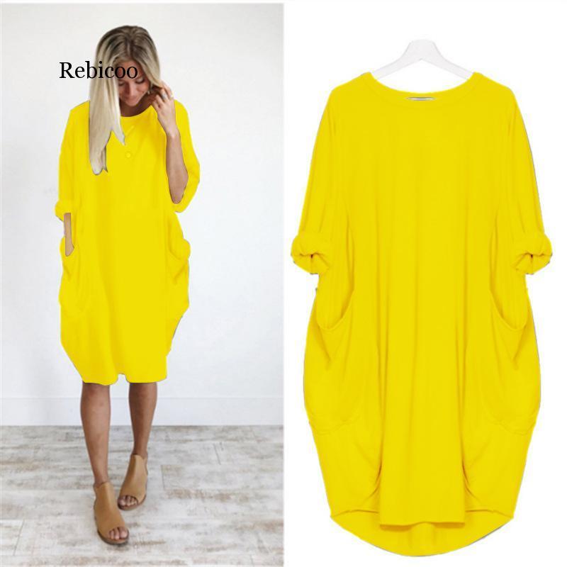 캐주얼 드레스 해변 여름 가을 여성 드레스 우아한 폭발 느슨한 포켓 긴 소매 패션 솔리드 컬러 둥근 목