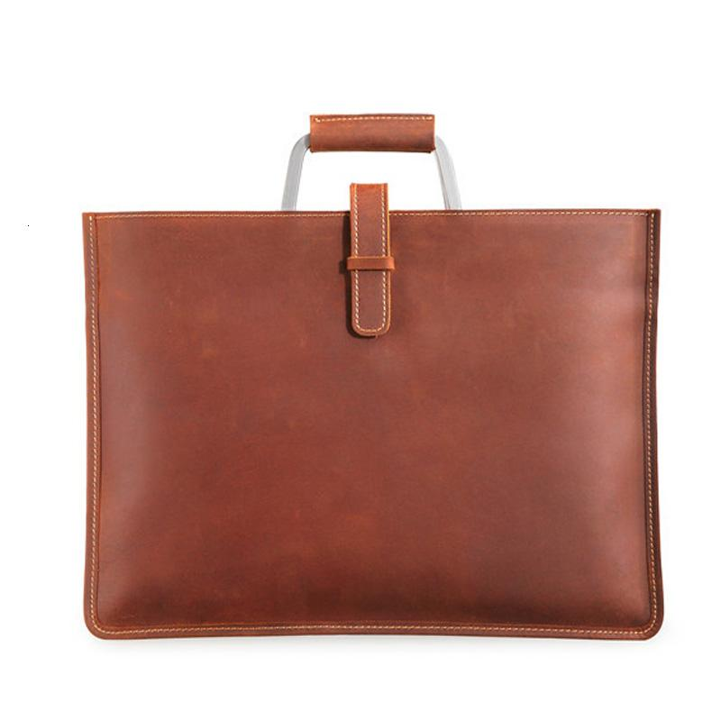 Genuine Leather Men's Handbags Crazy Horse Leather Man Retro Tote Bag Shoulder Messenger Bag Business Men Briefcase Laptop BagMX190905