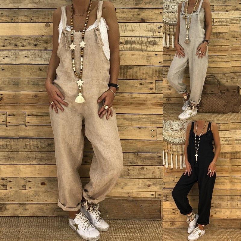 Bodysuit femmes barboteuses pour les femmes Spaghetti Strap Baggy Jumpsuit Pantalon Femmes Coton Lin vrac Sarouel femmes avec des poches Navet