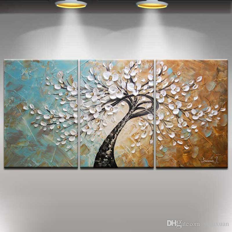 Sträckt ram redo att hänga, 100% handmålade abstrakta landskap modern blommande blommor träd kniv oljemålning 3pcs / set hem dekor # 001