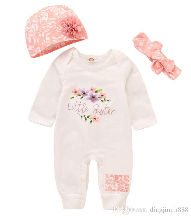 Neue Baby-Mädchen-Strampler Overall langärmeliges Baby Overall + Hat + Designer Stirnband 3Pcs Outfit Kinder Neugeborene Baby-Kleidung