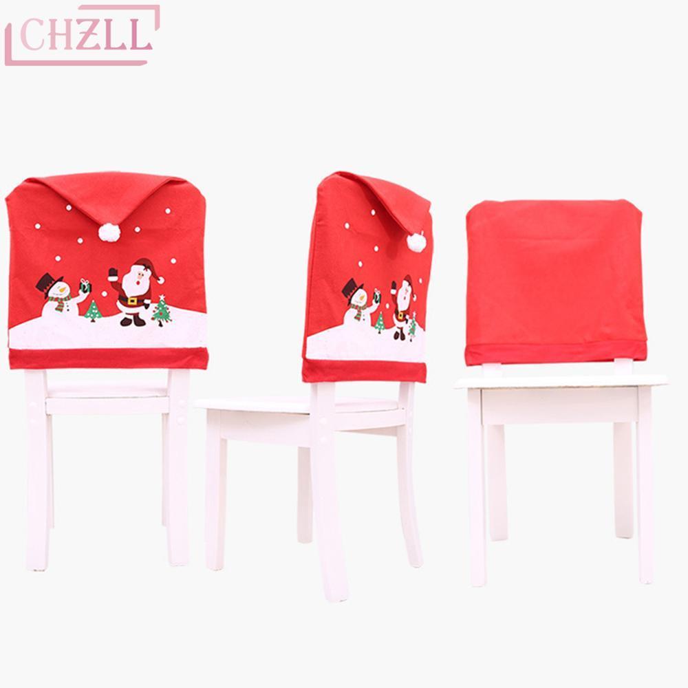 CHZLL Santa Claus Snowman Merry Christmas Hats Xmas Decor for Home Pendant Drop Ornaments Christmas Chair Cover Noel Navidad New