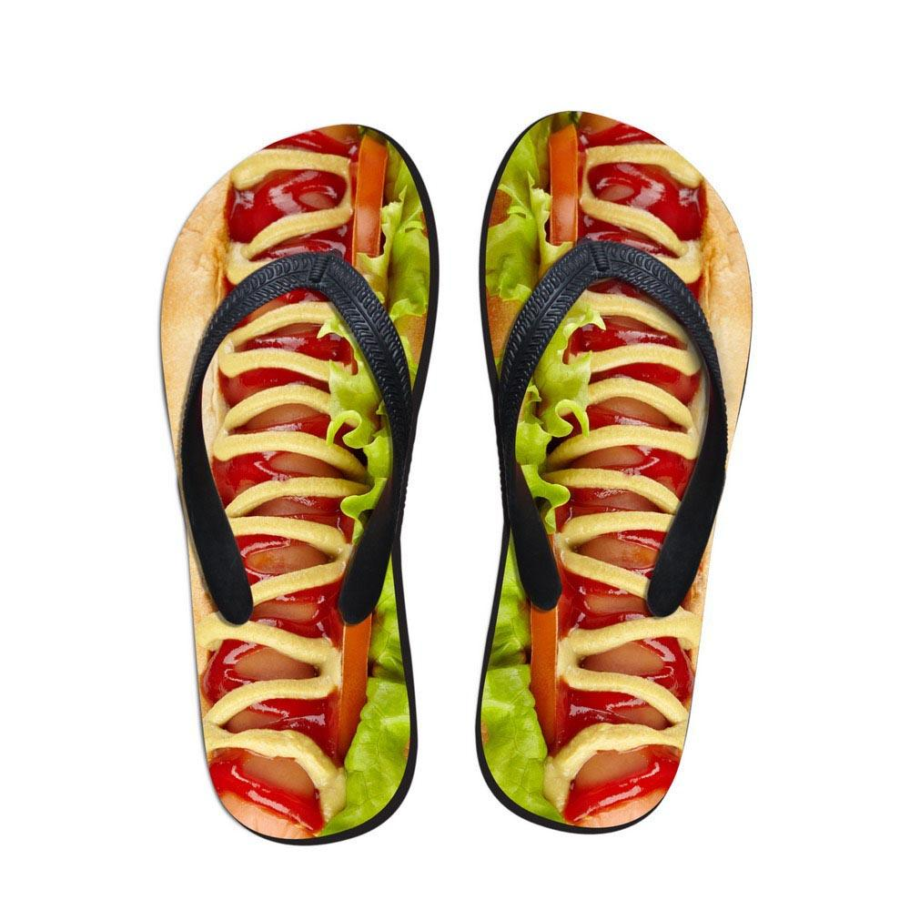 Noisydesigns fille pantoufles nourriture Hamburger impression femmes tongs été sandales intérieur chaussures toboggan extérieur chaussures de plage féminin