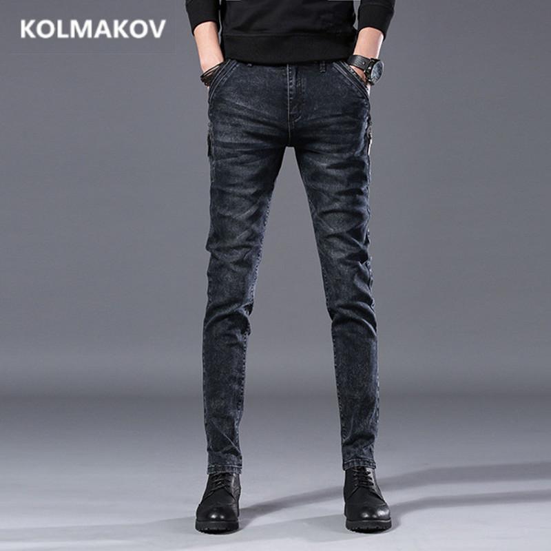 2019 Moda longo Jeans Men Preto Calças Lápis Top Calças Qualidade Magro Outono Denim elásticas Calças retas dos homens jeans casual