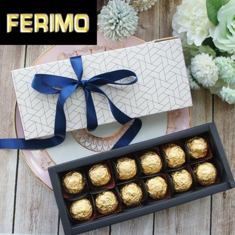 9.5x24.5x3.5CM элегантный сотовый стиль 10 набор Шоколадные конфеты свечу бумажная коробка День Святого Валентина Рождество День рождения Подарки пакет