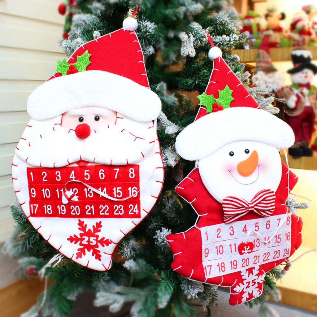 2019 Nuevo Adviento Calendario de la Navidad Bolsillos pared fieltros niños colgantes cuentas atrás Decoraciones