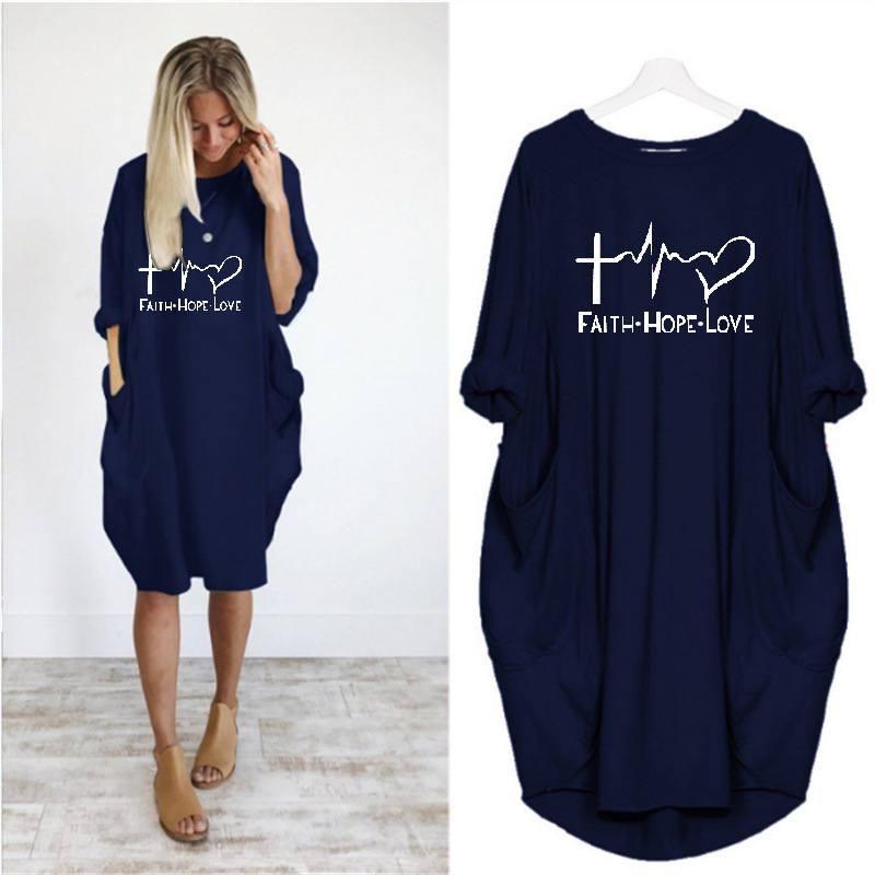 Casual O suéter del invierno del cuello de manga larga vestido de letras impresas sueltas Mujer Ropa de Mujer Vestidos para mujer Desinger