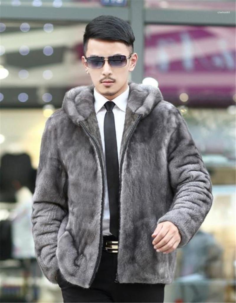 Outerwears hommes Designer en fausse fourrure Manteaux d'hiver épais à manches longues Slim capuche Hommes Vêtements Casual Male