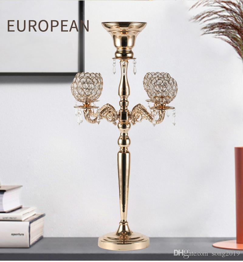 Metal Candle Holders 5-arms Metal Candelabras Luxury Crystal Candlesticks For Wedding Table Candle Holders Event Centerpieces