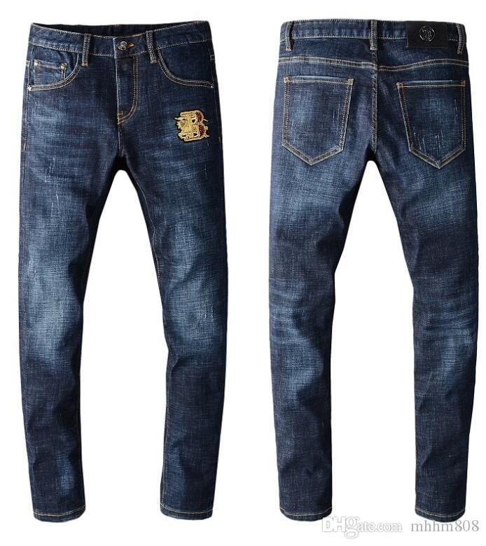 Erkekler yırtık kot 4-renk streç skinny jeans ince kesilmiş kot kayıt yok yırtık OOA684512