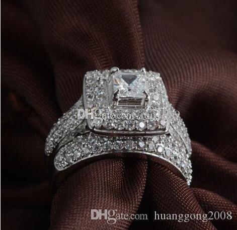 beyaz altın 14kt Güzel Lüks Takı prenses kesim tam topaz taş pırlanta Kadınlar Düğün Nişan yüzüğü seti hediye simüle doldurdu.