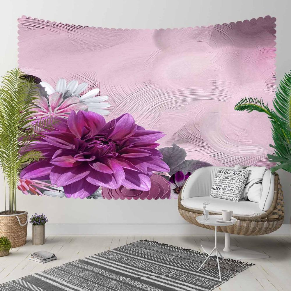 Else Purple White Flowers Authentic Vintage Wall 3D Print Decorative Hippi Bohemian Wall Hanging Landscape Tapestry Wall Art