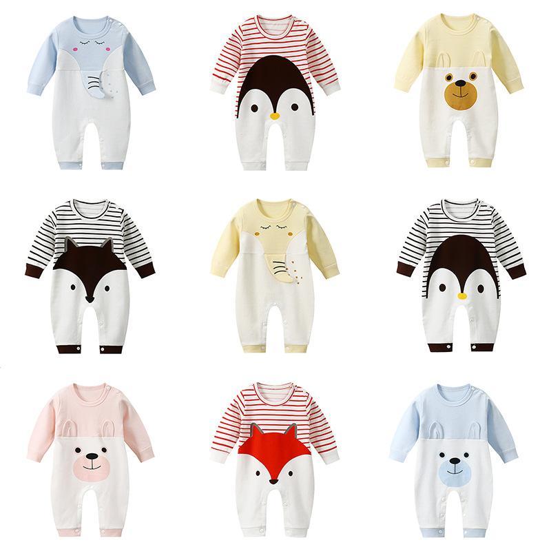 kostüm 1-18M erkek bebek kız yürümeye başlayan Yenidoğan Bebek romper pamuk giysiler Tam Kol bebek karikatür hayvanlar elbise