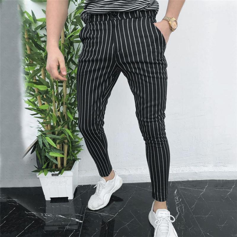 Спортивный костюм брюки для мужчин Мужская повседневная Slim Fit тощий бизнес формальный костюм платье брюки брюки брюки черные мужские спортивные штаны 1